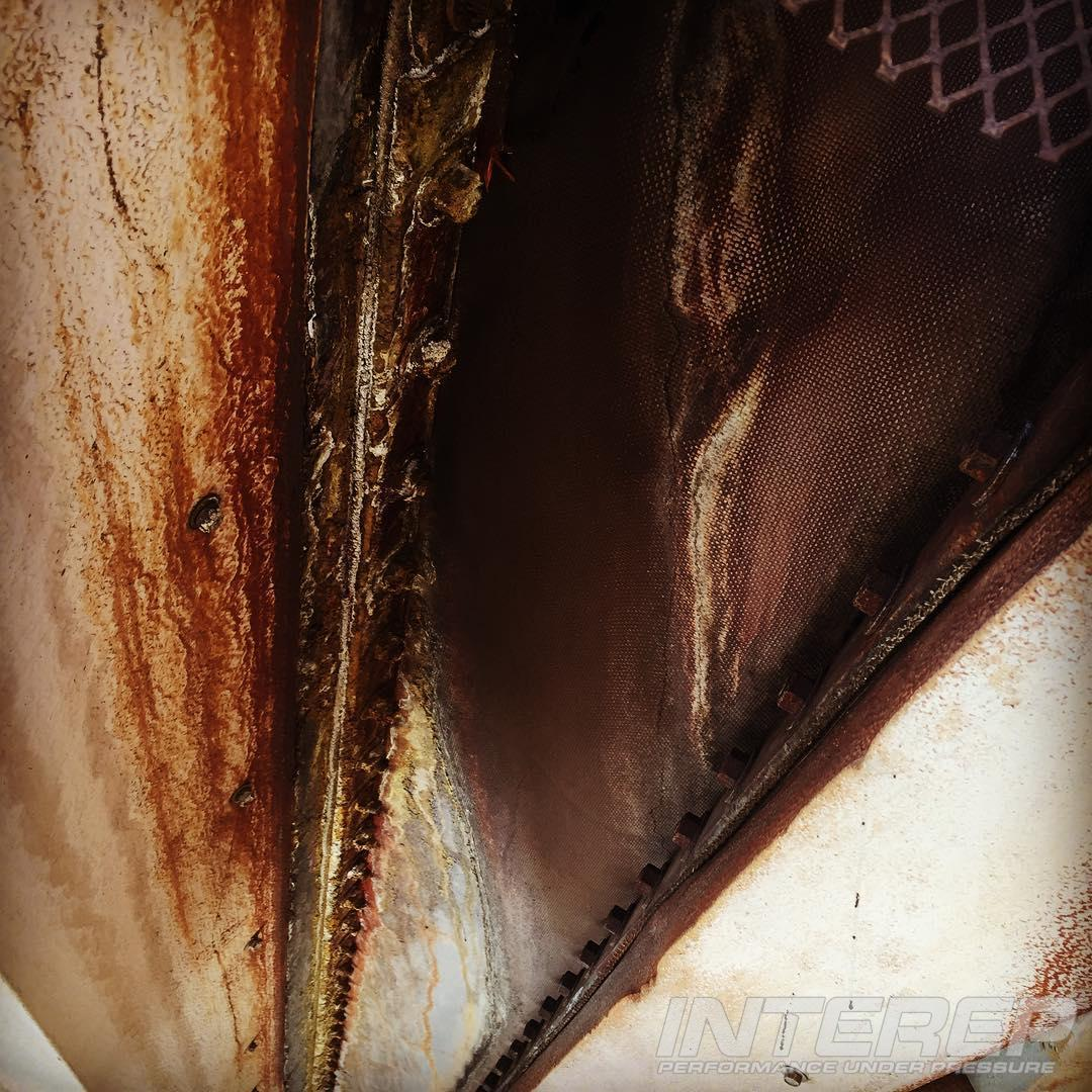 You can avoid #sulfur condensation inside your expansion joints with proper insulation. Too much or too little, and they'll look like this, eating up backup bars and structural steel.  #expansionjoint #powerplant #coal #shutdown