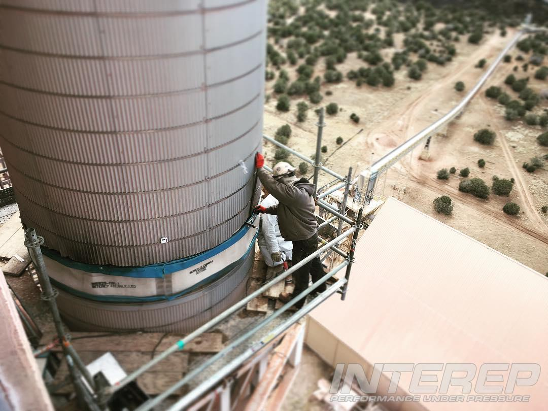 Doing an install a long ways up on a preheater tower downcomer at a cement plant. The old expansion joint here failed and we were called in to supervise and verify the install of the replacement that we designed for them.