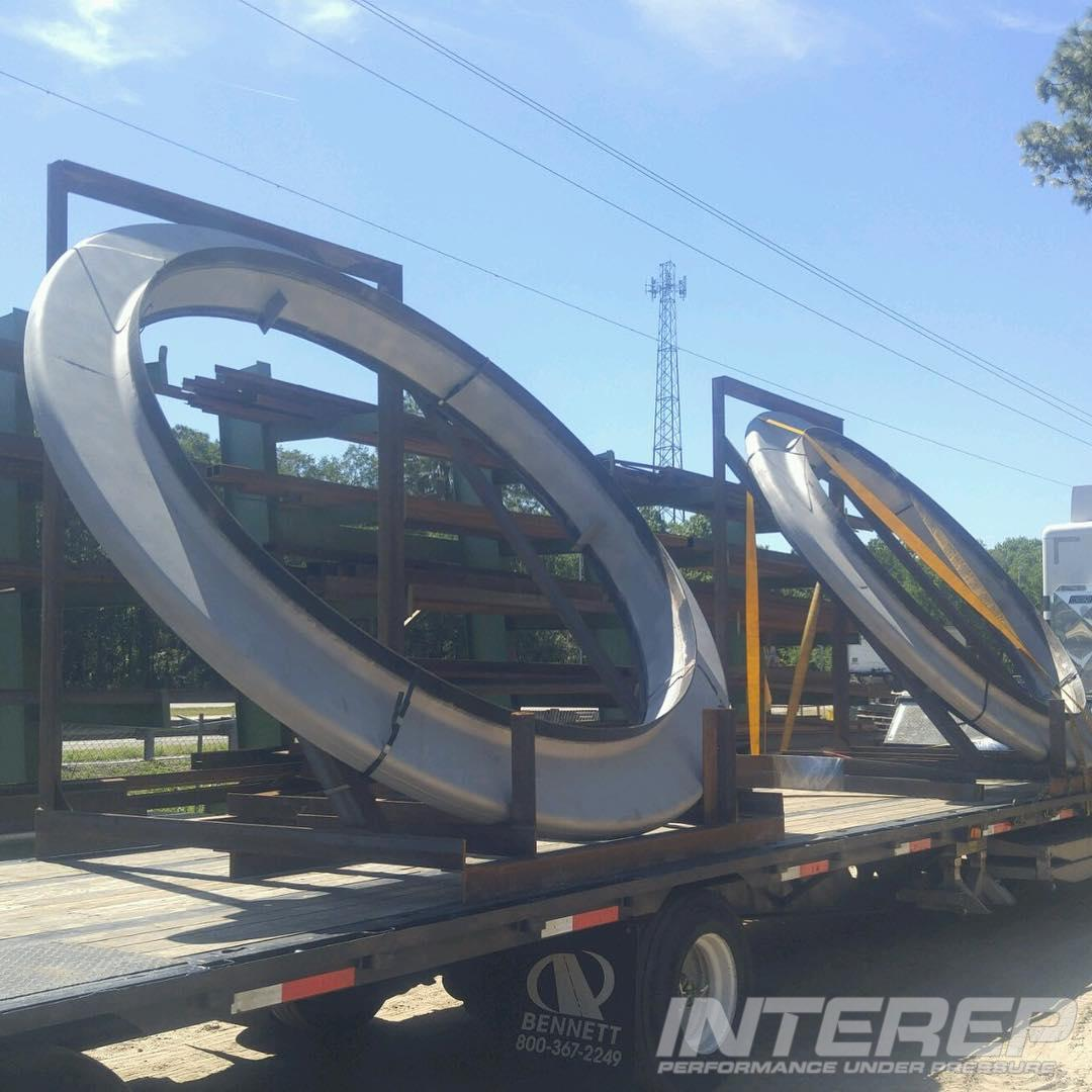 9.5 foot diameter Heavy wall flanged and flued expansion joints for acid plant service.