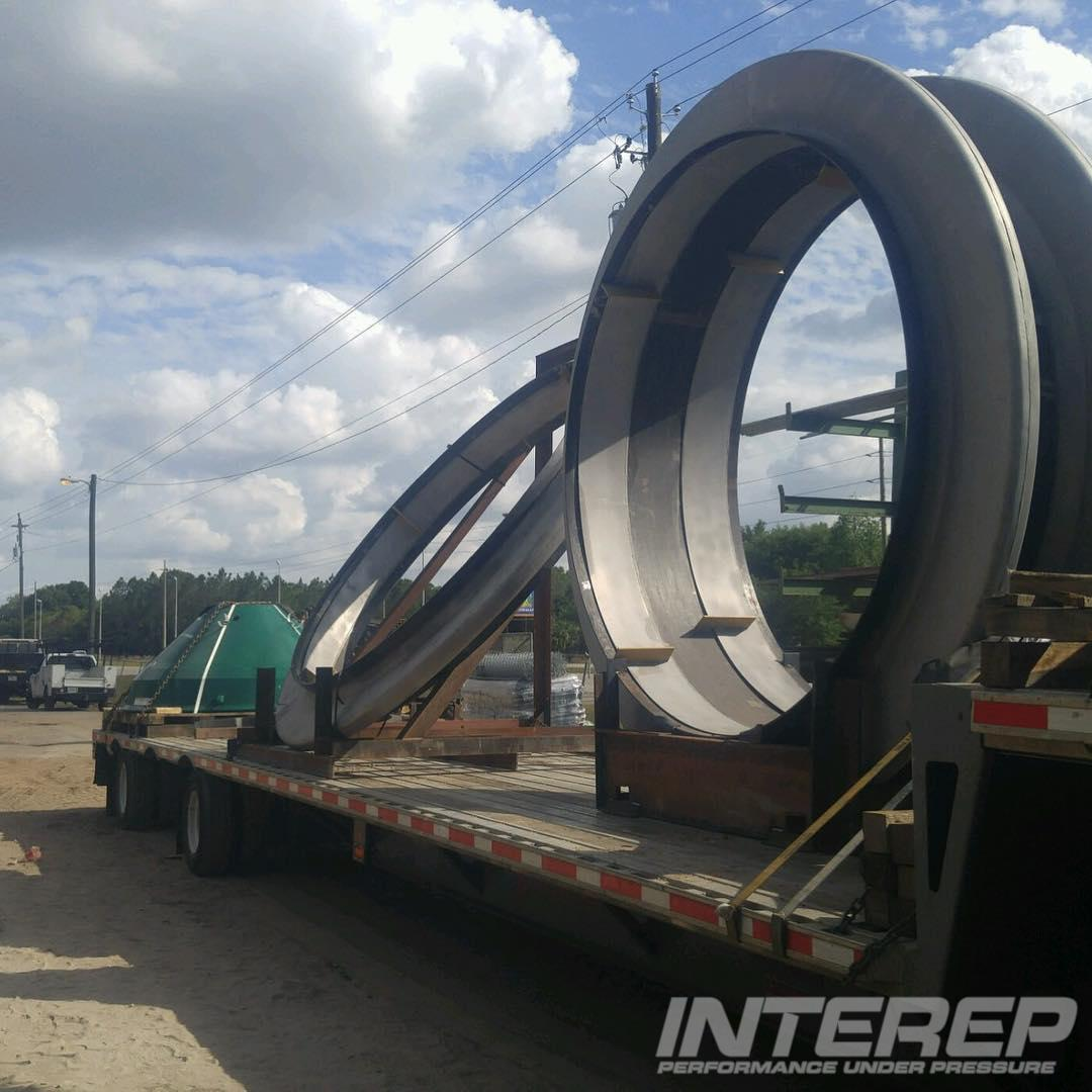 8 foot diameter heavy wall flanged and flued double expansion joint for sulfuric acid plant service