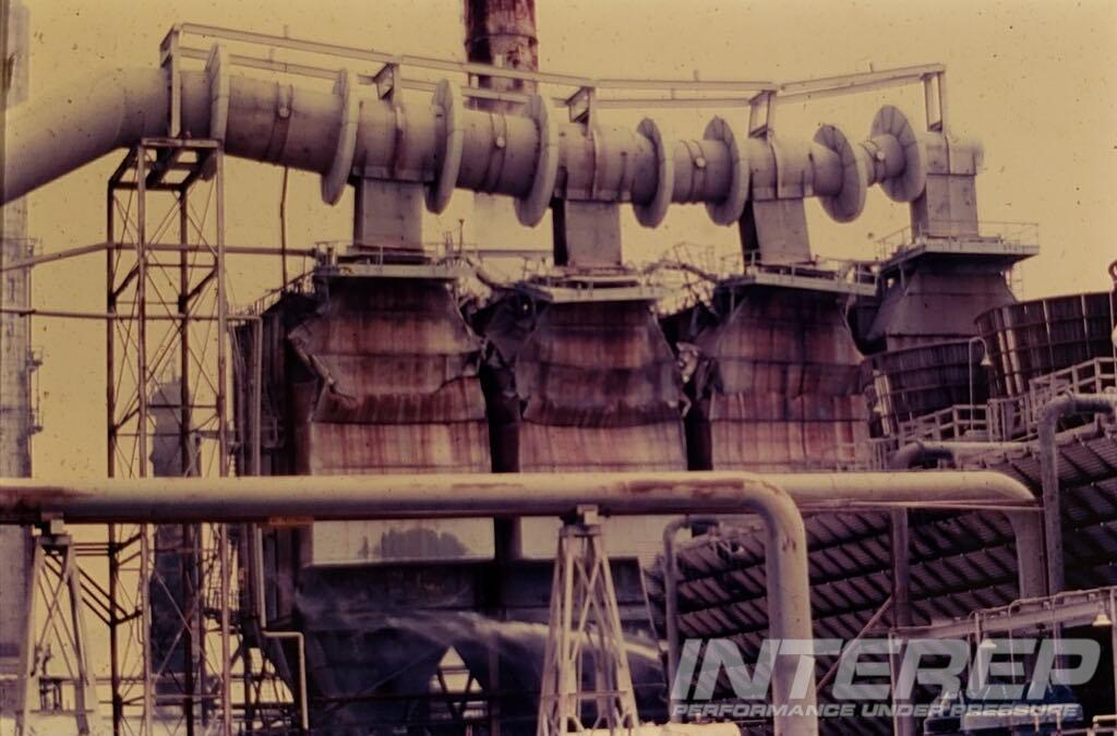 A crude heater at an oil refinery where the original Carl Horecky was called in as a consultant with Horecky / Fahrig Associates to revamp the catcracker with his high temperature regeneration technology.  Looks like these heavy-wall expansion joints might have seen more angular movement than they were designed for.